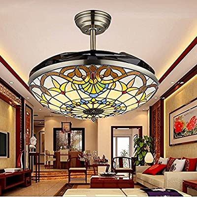 COLORLED Colorful Craftmade Brown Ceiling Flushmount Ceiling Fans 42-Inch Transparent Acrylic Blade Fan Chandelier Lamp for Bedroom, Living and Dining Room Lighting Fixture