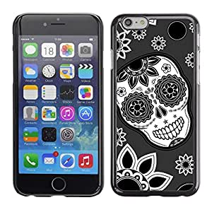 Design for Girls Plastic Cover Case FOR iPhone 6 Skull Flowers Wallpaper Floral Smile OBBA