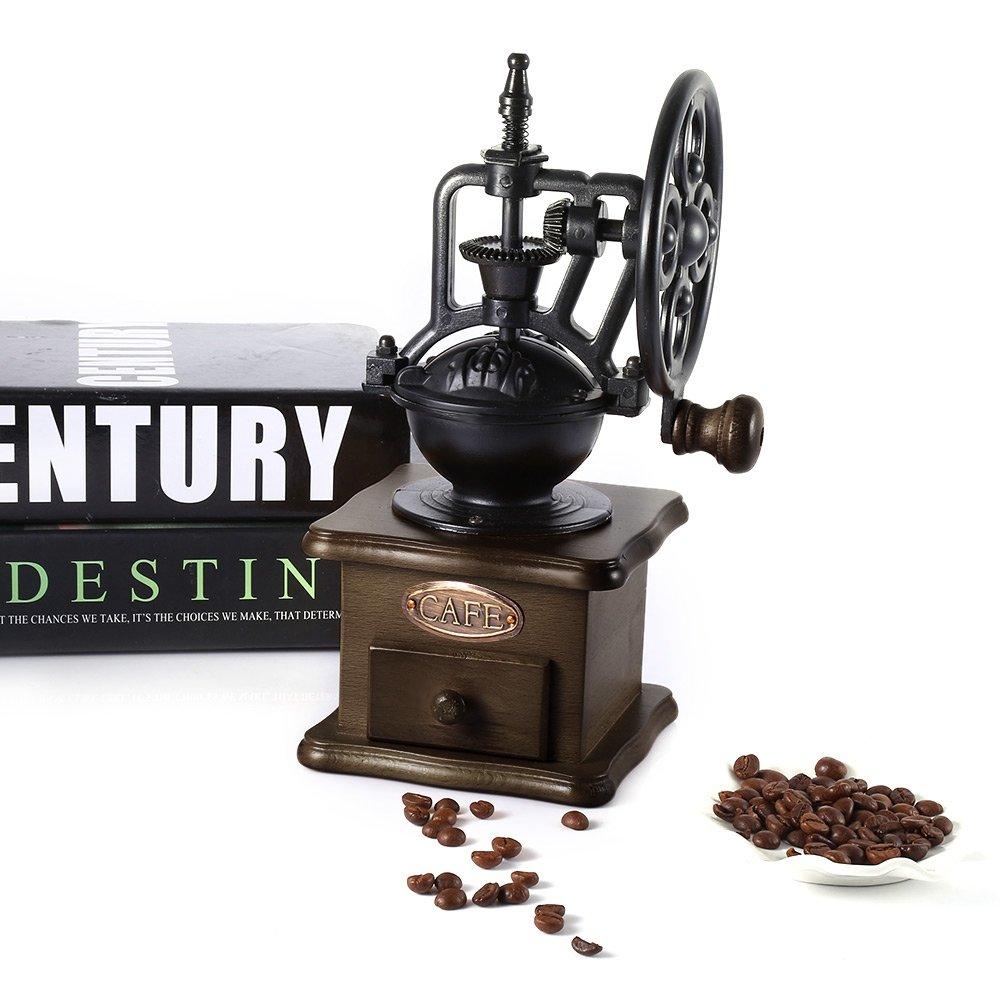 Perfectii Molinillo De Café Manual, Retro Burr Molinillo De Café Mano Pulido Máquina Manivela De Rodillo con Rebabas De Cerámica: Amazon.es: Hogar