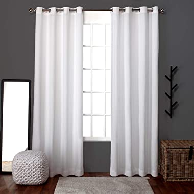 Exclusive Home Loha Linen Grommet Top Curtain Panel Pair, Winter White, 52x96, 2 Piece