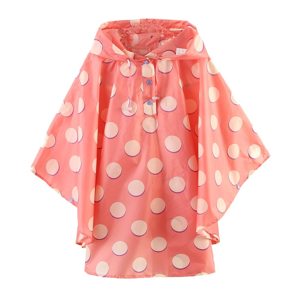M2C Girls Patterned Hooded Lightweight Waterproof Rain Poncho Polka Dots by M2C
