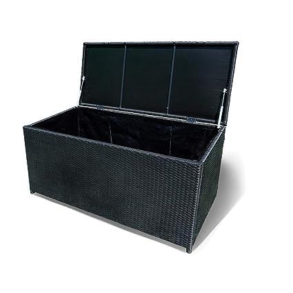 Kissenbox Auflagenbox Gartentruhe Gartenbox Truhe Box Polyrattan Rattan Schwarz