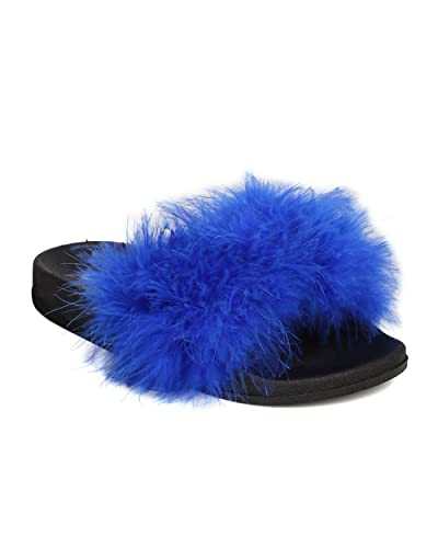 eacb98897 CAPE ROBBIN Women Feather Fluffy Open Toe Slip On Sandal FH37 - Royal Blue  (Size
