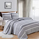 Great Bay Home 3-Piece Reversible Quilt Set with Shams. All-Season Bedspread with Striped Pattern in Gentle Colors. Kadi Collection Brand. (King, Grey)