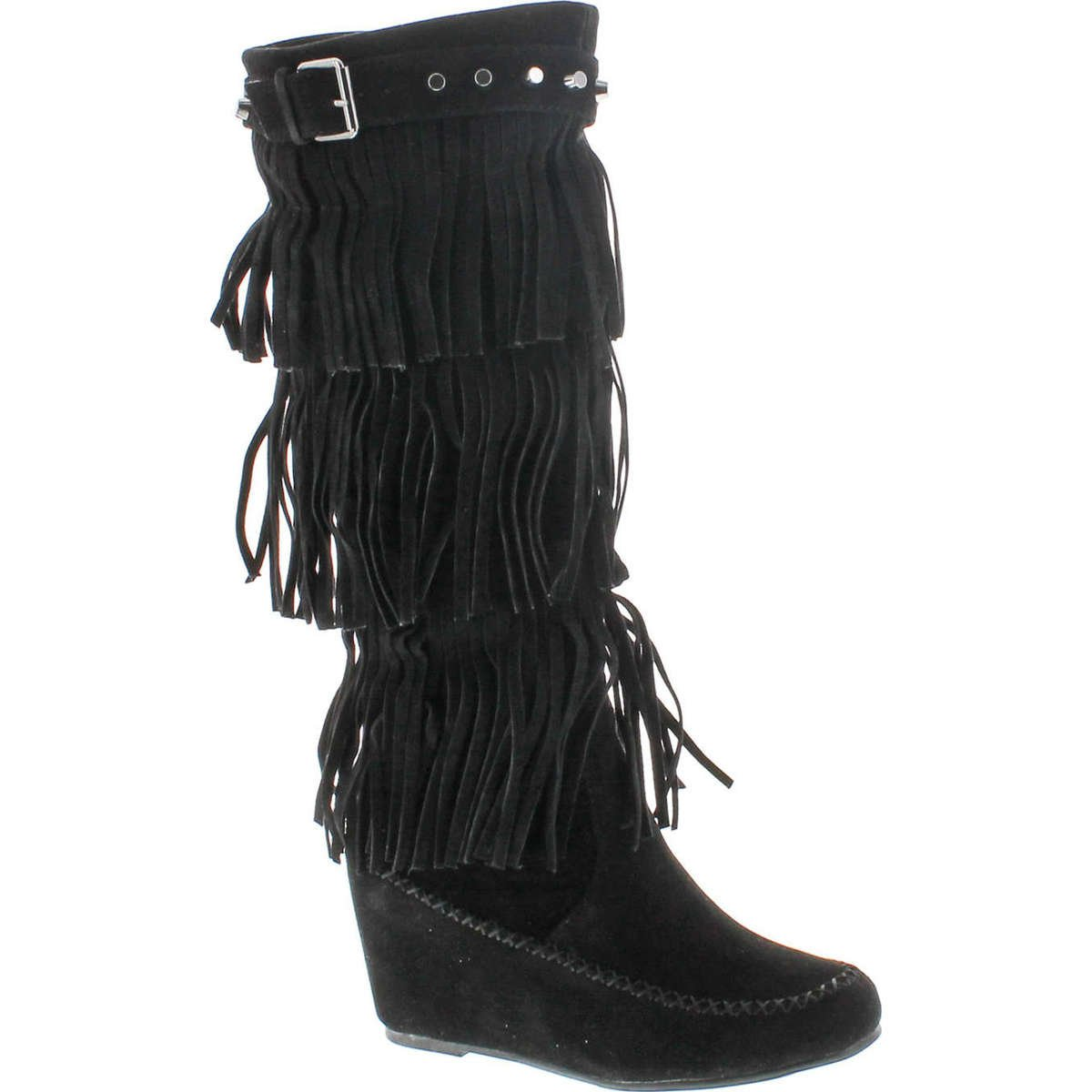 Nature Breeze Womens Bridget-02Hi Suede Fringe Studded Moccasin Knee High Wedge Boot,Black,8