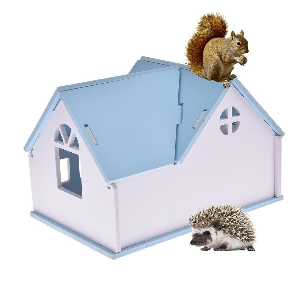 Pequeños animales de madera para casa de estar hámsters erizos hámster dorado cálido cómodo villa ecológico tabla de madera caseta mascota jugar casa: ...