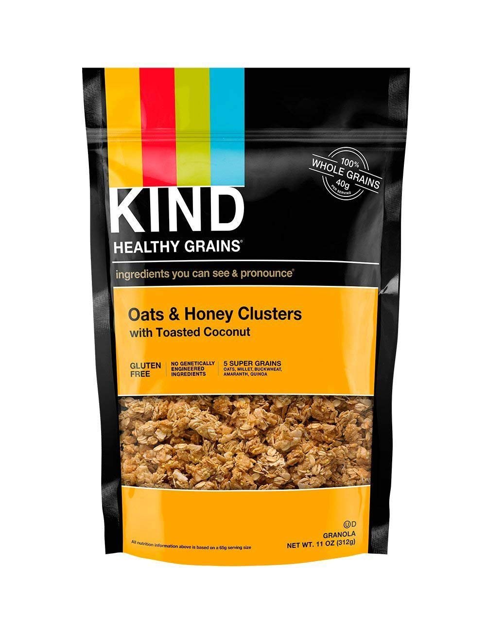 KIND Healthy Grains Clusters, Oats and Honey with Toasted Coconut Granola, Gluten Free, Non GMO, 11 Ounce Bags, 6 Pack