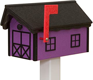 product image for Recycled Poly Plastic Barn Mailbox USA Handmade (Black & Purple)