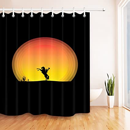 LB Cowboy On Horse Silhouette In Sunset Shower Curtain For Bathroom Orange Black Texas Wild