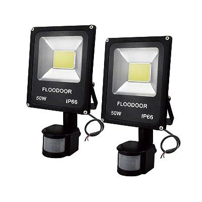 FLOODOOR Motion Sensor Light 50W 24V AC/DC Outdoor Flood Light, Daylight White, 6000K, 4500LM, IP66 Safety Waterproof Security Outdoor Light for Garage, Street and Garden(2 Pack)