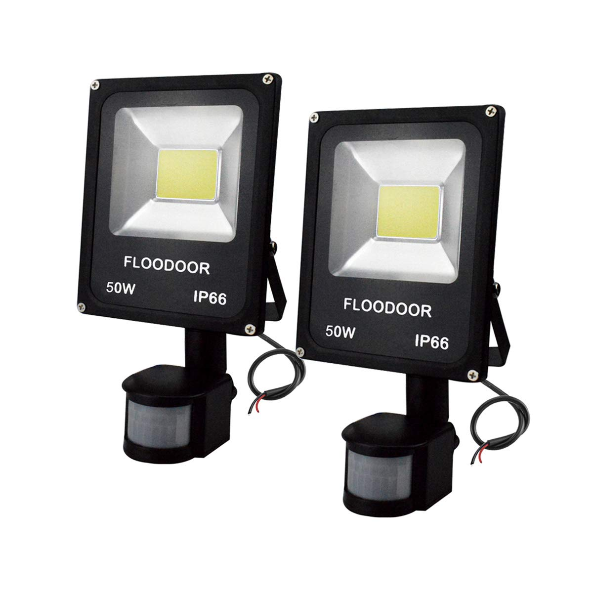 FLOODOOR Motion Sensor Lights 50W 12-60V AC/DC Outdoor Flood Light IP66 Safety Waterproof Daylight White, COB Lamp Bead,6000K 4500LM Security Wall Light for Garage Street Guardrail(2 Pack)