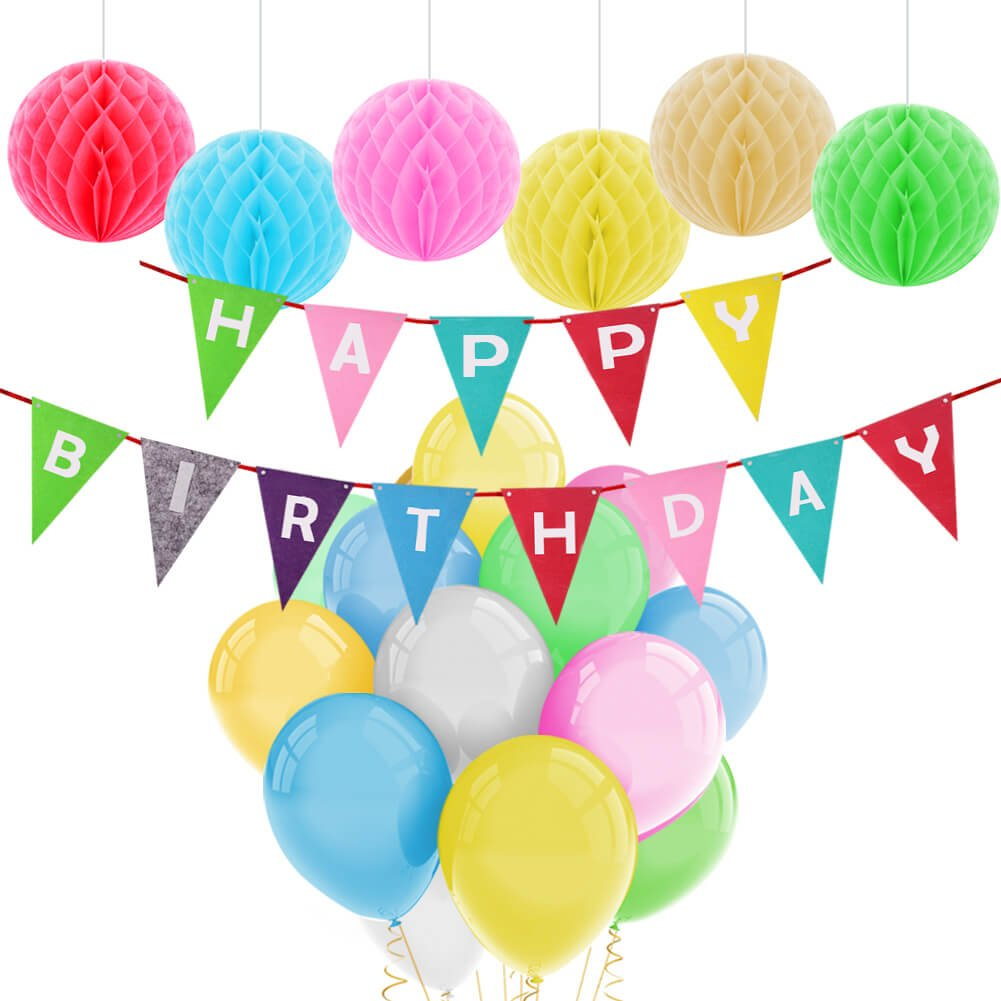 Feliz cumplea/ños decoraciones Banner con Tissue Pom Poms y l/átex Party Balloons por Paxcoo