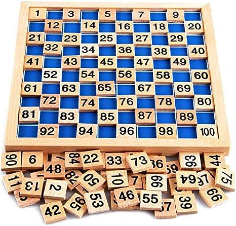 Puzzle matemático de Natureich Montessori Juguete de madera para aprender a contar, con campos numéricos y números, colorido / natural