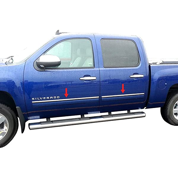 2007-2013 GMC Sierra Crew Cab Body Side Molding Trim Overlay Stainless Steel