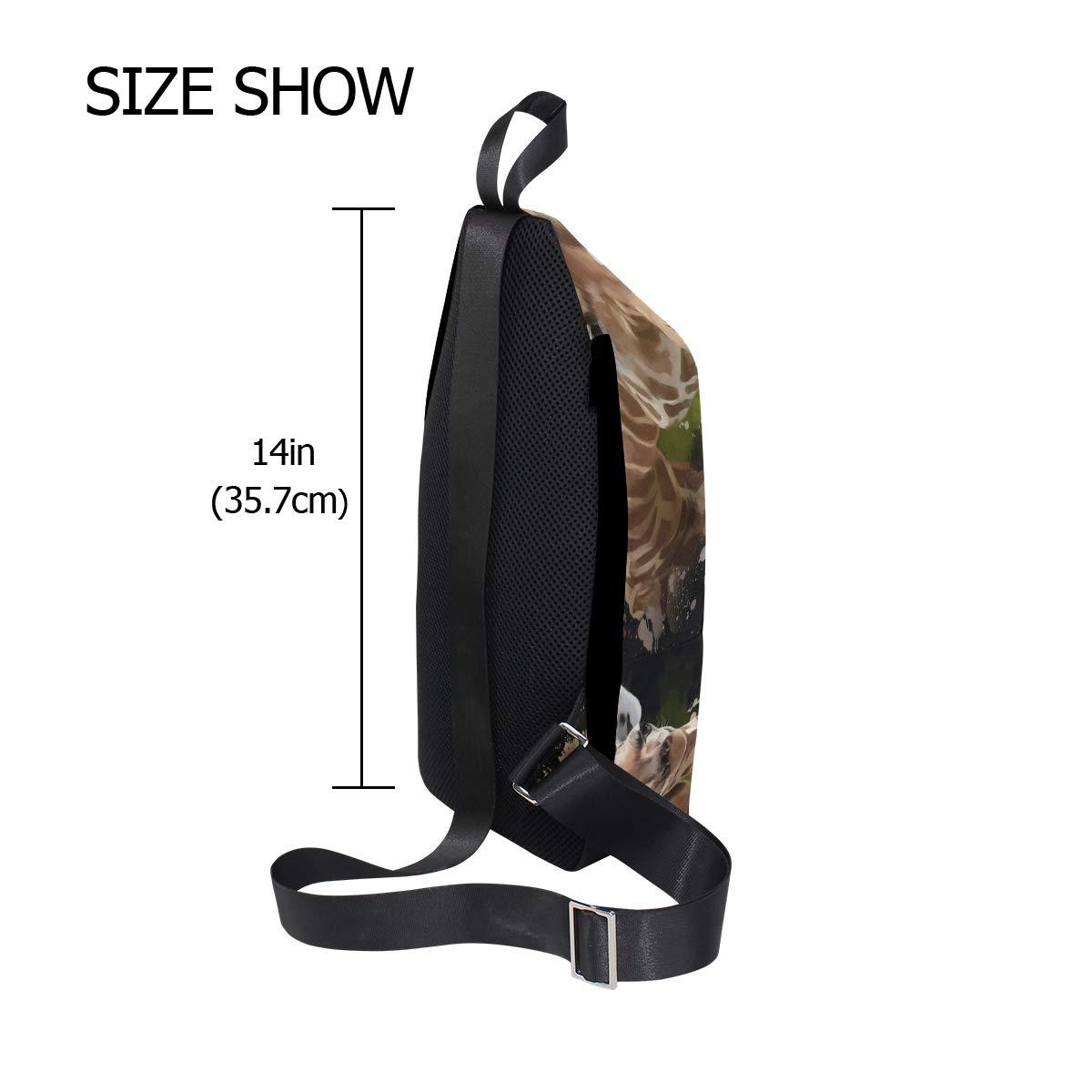 TFONE Animal Giraffe Pattern Crossbody Bag Lightweight Chest Shoulder Messenger Pack Backpack Sling Bag