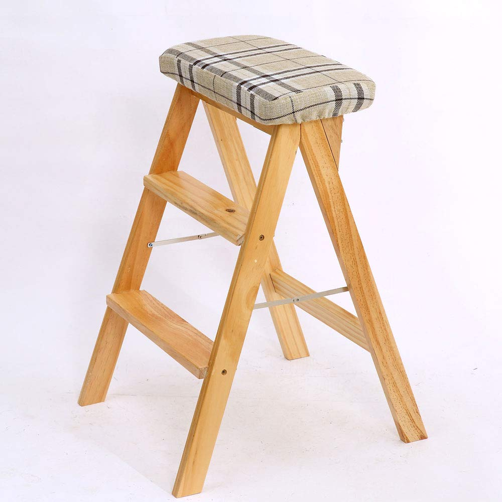 Square Wood color Foldable Solid Wood High Stool Wooden Texture Clear Wooden Chair Living Room Study Bathroom Chair A Variety of Pattern color (color   Red, Size   Wood color)