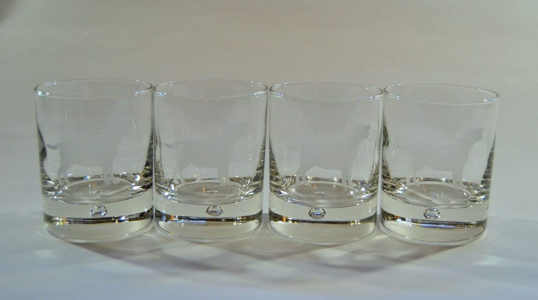 BLACK LABRADOR   DESIGNS ON HEAVEY BASE  HIGHBALL TUMBLER GLASS