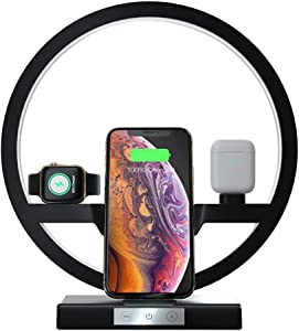 Wireless Charger with Desk Light, EBXYA 3 in 1 Charging Station Holder for Apple Watch, Airpods, Fast Wireless Charger for iPhone 11/11 Pro/Xs Max/XR/X/8 Plus, Samsung S10 /S9 /S8/S7 (Black)