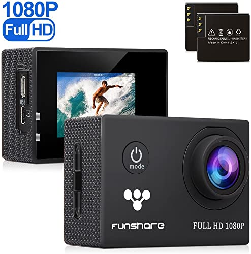 Underwater Action Camera by Funshare, Waterproof Sports Camera for Swimming, Cycling and Snorkelling, HD 1080P 12 Mega Pixels Resolution 170 Angle Lens Mountable Durable Batteries Black
