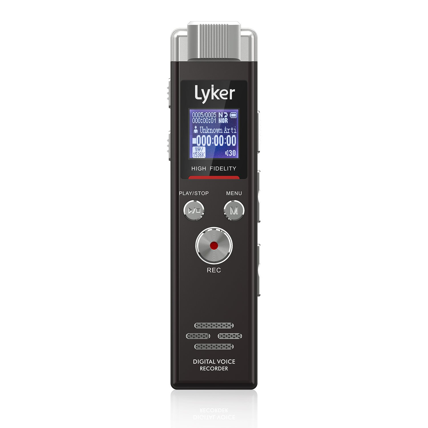 Lyker 4330997192 Digital Voice Recorder, 8 GB Audio Recorder for Lectures Voice Activated Sound Dictaphone 5 AVR Levels High Fidelity PCM Dual Microphone, 48Khz Sampling, Subsection and Time Mark