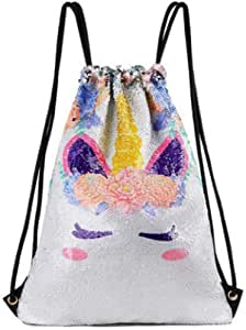 Unicorn Sequin Bag Magic Reversible Sequin Drawstring Backpack Glitter Dance Bags Shining Sports Backpack for Kids Adults