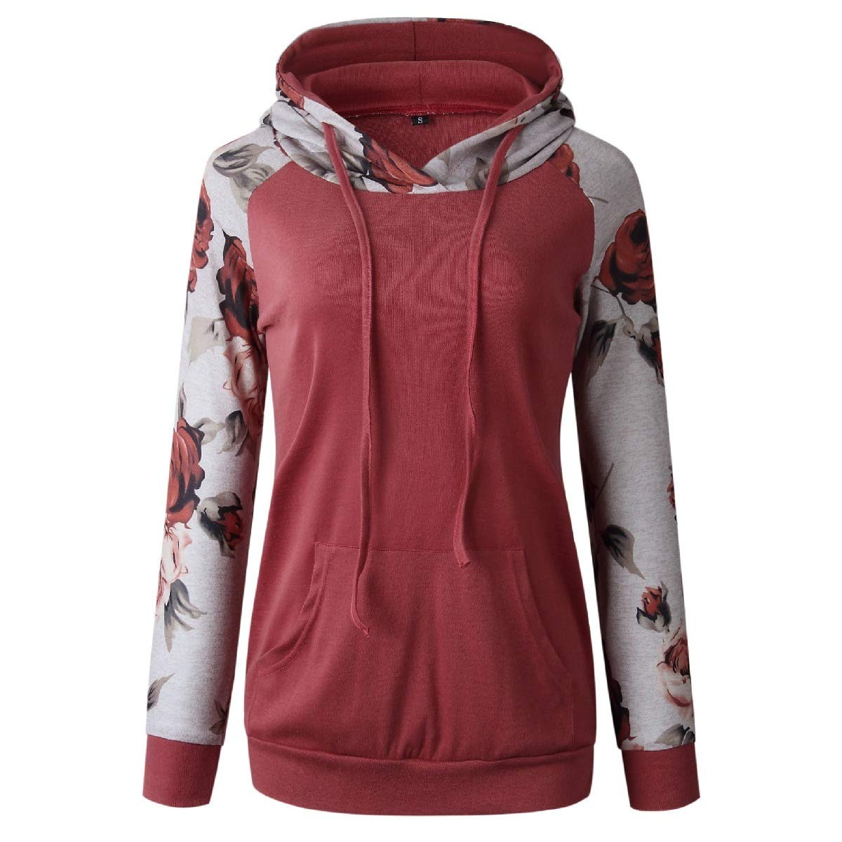 Mfasica Women Printed Loose Casual Hooded Pocket Sweatshirt Outwear