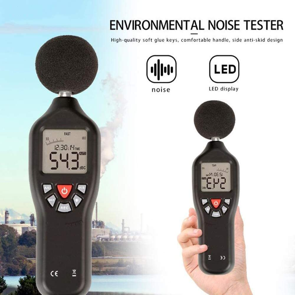 ZUQIEE Noise Measurement Noise Detector 30-130Db Mini Portable LCD Backlight Digital Sound Level Meter Decibel Indoor Environmental Noise Detector