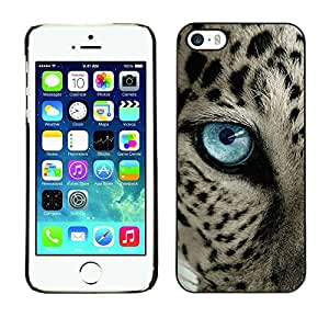 TaiTech / Hard Protective Case Cover - Black Spots Blue Eye Cat - Apple iPhone 5 / 5S