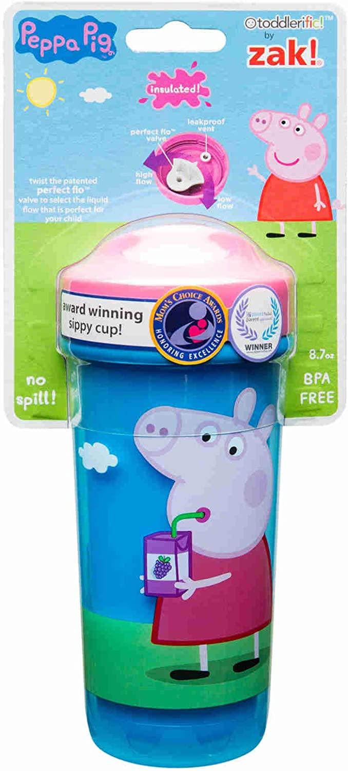 Double Wall Insulated Construction and Adjustable Flow Technology Zak Designs Toddlerific Perfect Flo Toddler Cup with Peppa Pig Graphics