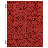 Custom Smart Cover (Magnetic) for Apple iPad 2 / 3 / 4 - Red Black Floral Pattern