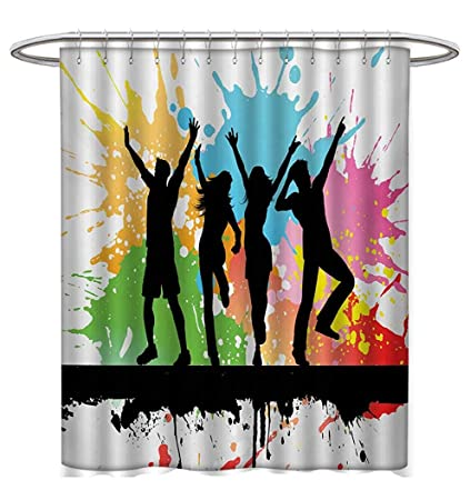 Zambia Shower Curtains Fabric Extra Long Ethnic Tribal Folk Design With Retro Style Aztec Effects In