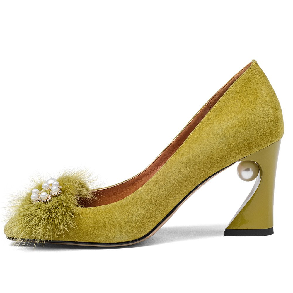 Nine Seven Suede Leather Women's Square Toe Chunky Heel Pearls Handmade Pumps Shoes with Fur (10.5, Yellow) by Nine Seven (Image #2)