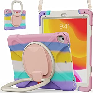 KENOBEE Case for iPad 9.7 6th/5th 2018/2017 / Air 2 / Pro 9.7, 360° Rotating Multi-Functional Handle-Kickstand Shockproof Cover Built-in Screen Protector & Shoulder Strap & Pencil Holder, Rainbow Pink