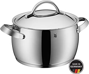 WMF High Casserole Ø 24 cm Approx. 6.8L Concento Inside Scale Steam Vent Made in Germany Hollow Handles Metal Lid Cromargan Stainless Steel Polished Suitable for Induction Hobs Dishwasher-Safe