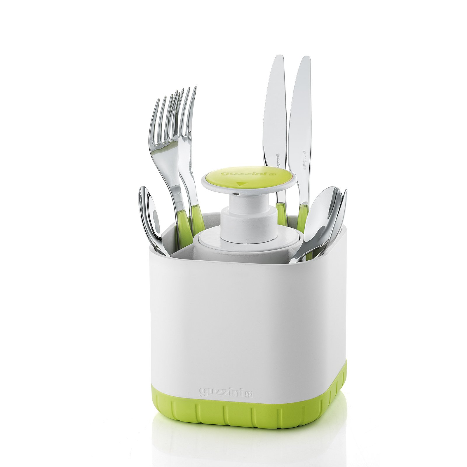 Guzzini My Kitchen Silverware Drainer Caddy with Removable Soap Dispenser, 7-Inches, 9-3/4-Ounces, Apple Green