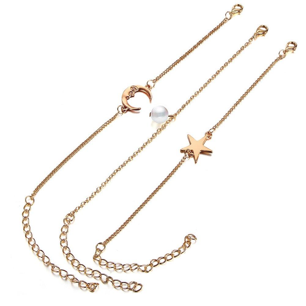 AIUIN 3x bracelet de cheville argent clair de lune, perle et Pentagram bracelet de cheville pour femmes de la accessoires de bijoux avec un sac de bijoux