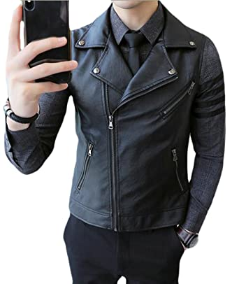 sneakers for cheap lowest price excellent quality Jotebriyo Men Zip Up Pu Leather Sleeveless Lapel Moto Biker ...