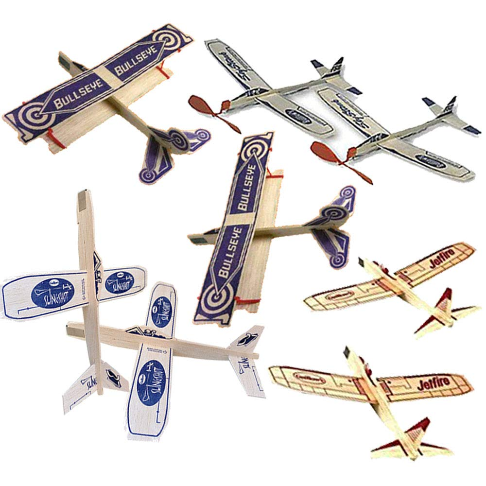 Guillow Jetfire Gliders Balsa Wood Airplane Bundle for Kids with Bullseye Biplane - Sky Streak Airplanes Wind Up Rubber Band Powered and Sling Shot Launched Glider Planes