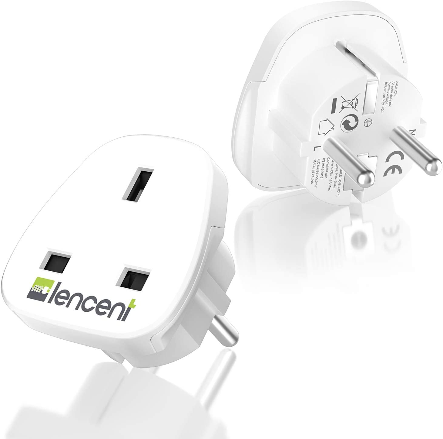 LENCENT 2X Adaptador de Enchufe de UK a Enchufe Europeo, Adaptador UK España, Adaptador UK EU, Adaptador de Viaje inglés a español: Amazon.es: Electrónica