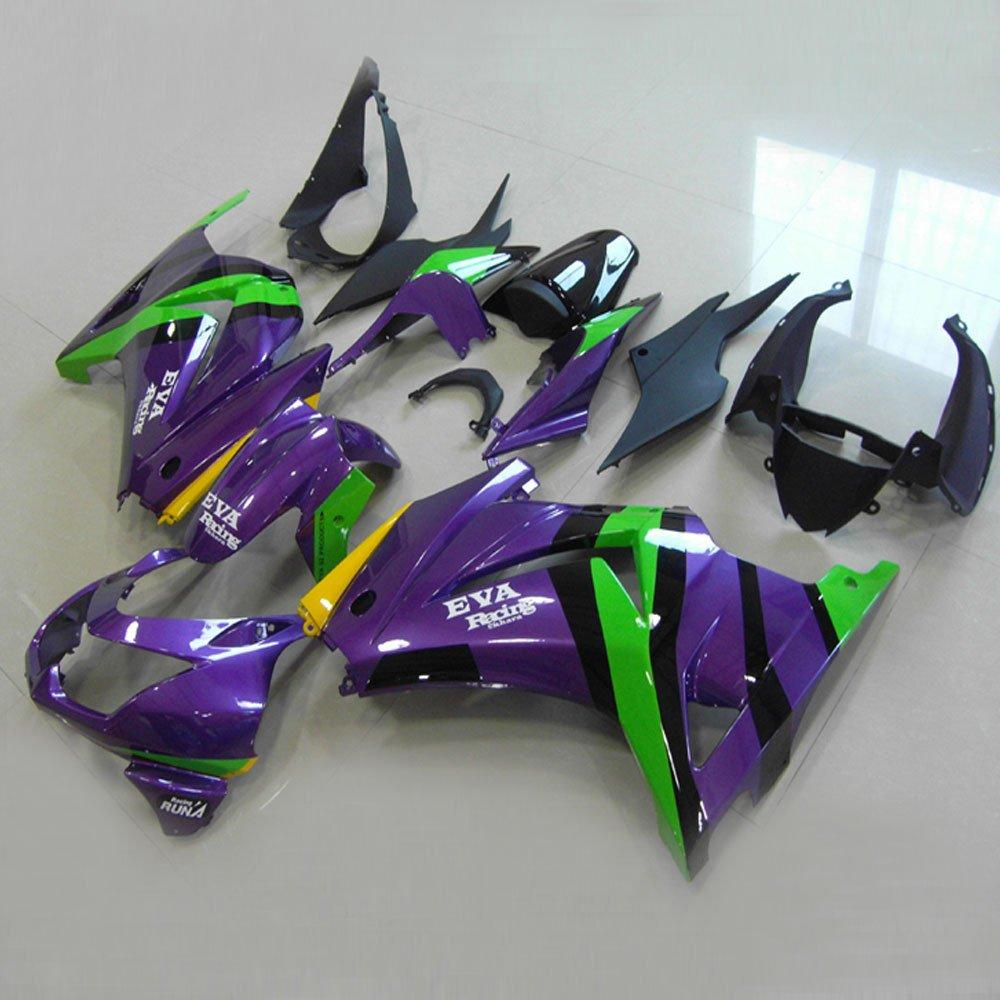 Moto Onfire ABS Injection Mold Plastics Fairing Kits for Kawasaki Ninja 250R EX250(2008 2009 2010 2011 2012, Purple/black, Full Fairing Set Included)