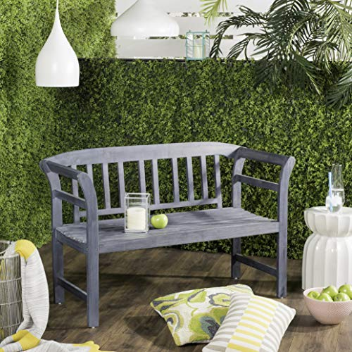 (Safavieh PAT6742B Outdoor Collection Porterville Ash Grey 2 Seat Bench)
