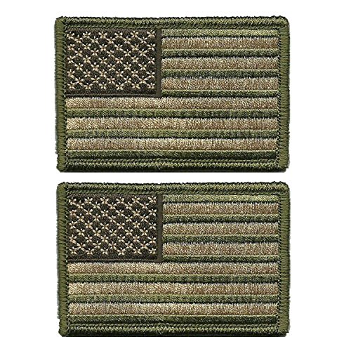 Tactical USA Flag Patch - Multitan - Velcro American Flag Embroidered Green Border US United States of America Military Uniform Emblem Patches-2 - Flag Velcro Patch Us