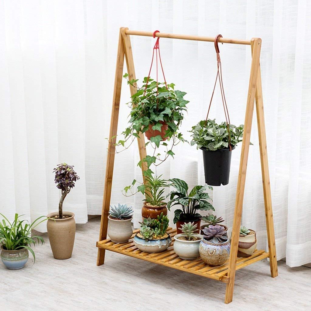 JKL-Fiore Stand Flower Racks Multi-Purpose Creativo bambù Pieghevole Mensola per Fiori Semplice Balcone Flower Stand per Interni ed Esterni (Dimensioni   90  70  43cm)