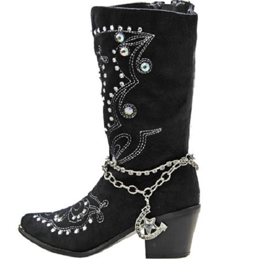SS Layered Rhinestone Horseshoe Star Western Cowgirl Boot Strap Anklet Jewelry Jp