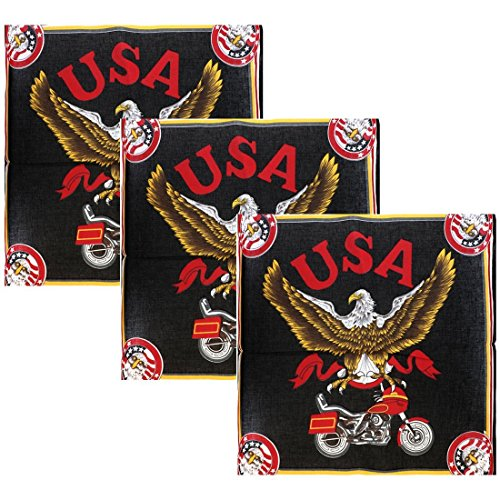 USA Eagle Bandana - Set of 3 Large Cotton Bandanas