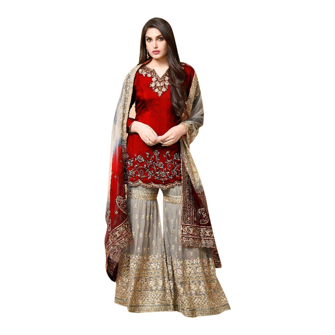Amazon Com Indian Ethnic Muslim Heavy Red Sharara Suit