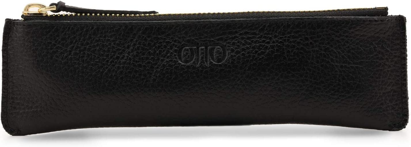 Londo Zippered Genuine Leather Pen and Pencil Case (Black), Model:OTTO249