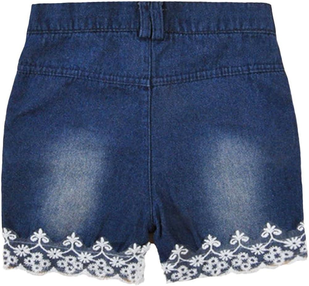 Shorts Jeans Bloomer Dentelle Mignon Chic-Chic 2PCs Ensemble B/éb/é Filles D/ébardeur Haut Bretelle sans Manches