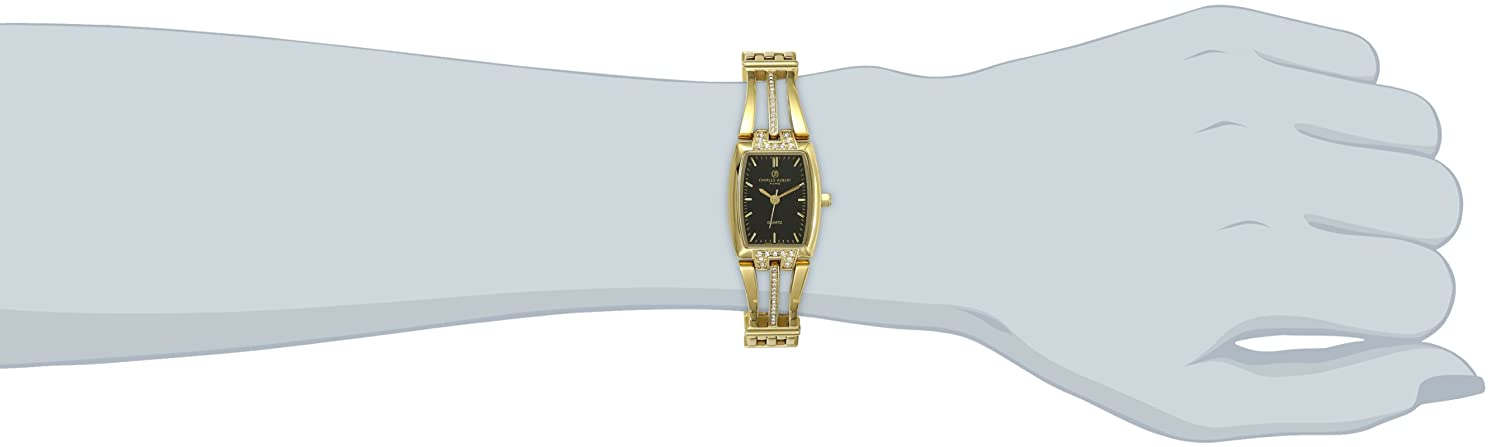 Charles-Hubert, Paris Women s 6824-G Classic Collection Gold-Plated Black Dial Watch