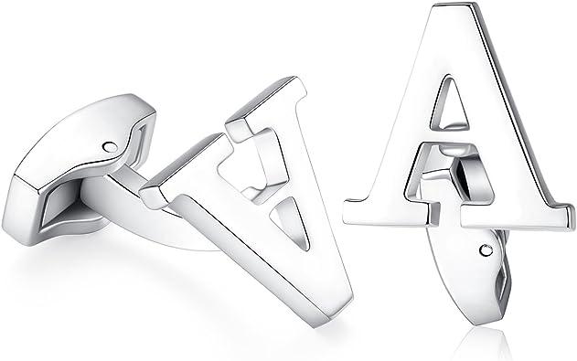 Hanana inicial alfabeto letra Gemelos para hombres camisa, Plata Acero Inoxidable, ideal para negocio boda regalo de Navidad (A): Amazon.es: Joyería